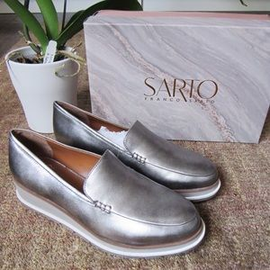 NWT Franco Sarto Silver Leather slip on Loafers